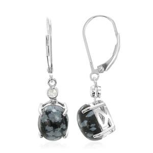 Schneeflocken-Obsidian-Silberohrringe