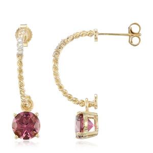 AAA-Pinkfarbener Turmalin-Goldohrringe