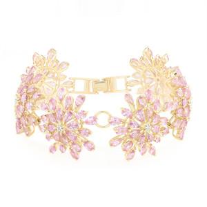 Pinkfarbener Ceylon-Saphir-Goldarmband